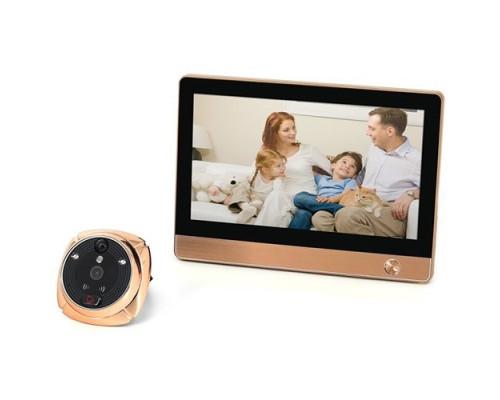 GSM/Wi-Fi видеоглазок «iHome-4» с датчиком движения и встроенным GSM/Wi-Fi модулем и записью (бронза)