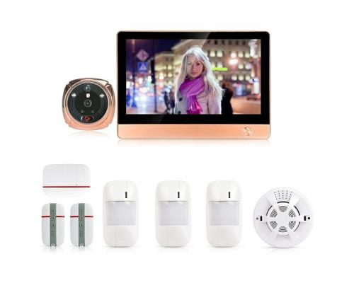 GSM/Wi-Fi видеоглазок-сигнализация «iHome-4G» (бронза) с расширенным комплектом датчиков, просмотром через интернет